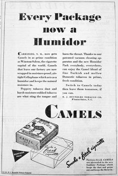 Just confirming cellophane wrappers on cigarette packages in the early 30s. Cigarette Advertising in the 1930′s – Early Years | Fit To Print