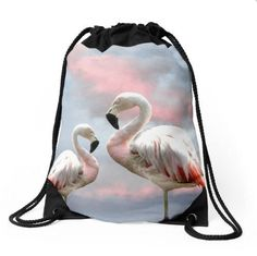 Flamingo bag Flamingos rucksack bird print drawstring bag flamingo backpack bird bag graphic print bag pink blue festival dramatic sky by…