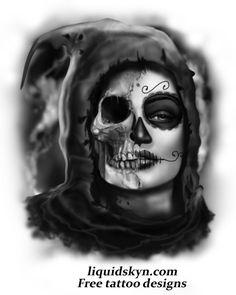 Day of the Dead Girl half skull.  http://www.liquidskyn.com/