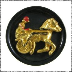 Vintage Celluloid Button w/ Metal Horse & Jockey on Sulky, Harness Racing