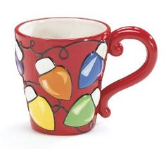 Colorful Holiday Christmas Lights Stoneware Coffee Mug Diy Mugs Homemade Gifts