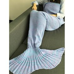 Comfortable Sleeping Bags Yarn Knitted Mermaid Tail Blanket, LIGHT GRAY in Blankets & Throws | DressLily.com
