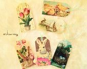 Fabric Easter Tags, Gift Tags, Bookmarks, Vintage Tags, Decoupage Tags