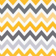 Zig Zag in Yellow & Gray Fabric by the Yard | 100% Cotton