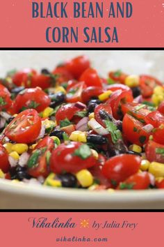 This black bean and corn salsa with cherry tomatoes, red onions, lime juice and chillies is a real winner when it comes to adding serious flavour into your meals!