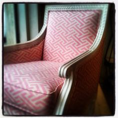 Oly Studio Petite Hanna Chair. Layla Grace.  Love the soft pink pattern and clean lines of the chair