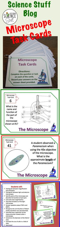 Science Stuff Blog: This post highlights the benefits of using task cards in your science class. (Microscope Task Cards.)