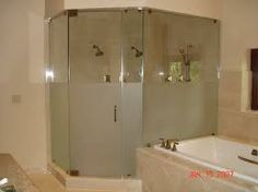 Frameless frosted shower doors