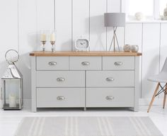 Somerset Oak and Grey 3 Over 4 Drawer Chest