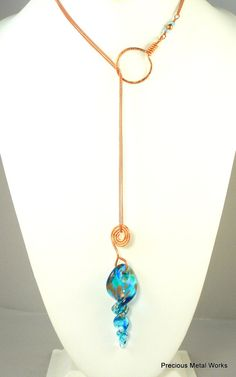 Blue Vortex, handmade, Copper chain lariet with Artisan blue glass swirled pendant by preciousmetalworks, $62.00