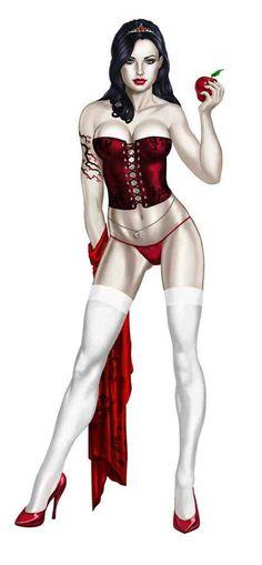 Snow White Pin-up. Bd Comics, Comics Girls, Fantasy Women, Fantasy Girl, Girl Cartoon, Cartoon Art, Zombie Pin Up, Grimm Fairy Tales, Snow White