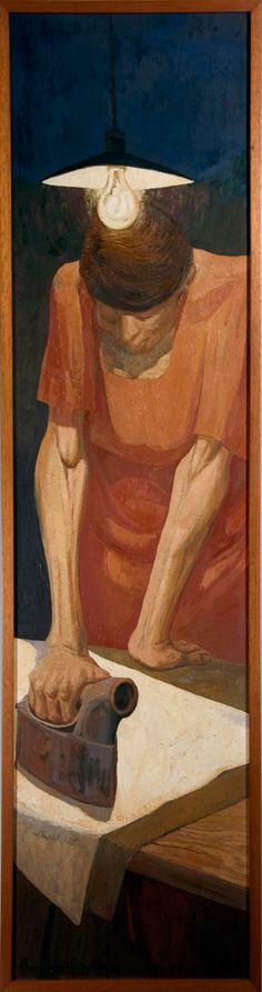 Woman Ironing (1978) by Lydio Bandeira de Mello (b. 1929), Brazilian works in the fresco tradition (bandeirademello)