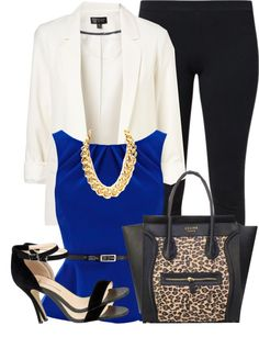 "Royal Blue, White, Black, Leopard Outfit ""O2 . 15 . 2O13"" by schwagger ❤ liked on Polyvore"