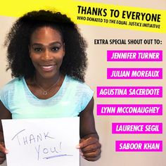 #EqualJusticeInitiative ... Via Serena Williams:  #SerenaWilliams   Thank you so much to everyone who donated to support the Serena Williams Fund and #eji_org !!