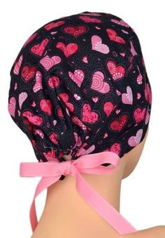 Scrub Hats // Scrub Caps // Scrub Hats for Women // The Mini // The Hat Cottage // Ribbon Ties // Valentine Hearts Medium Short Hair, Medium Hair Styles, Scrub Hat Patterns, Mouth Mask Fashion, Surgical Caps, Scrub Caps, Tie Styles, Cotton Quilting Fabric, Valentine Heart