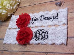 Monogrammed Garter, UGA Garter, Red and Black Garter, Sports Garter, Garter, Personalized Garter, Custom Garter, Wedding, Bridal, Bride by BloomsandBlessings on Etsy