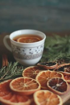 Dried oranges and tea
