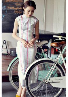 Summer Retro Linen Sleeveless Long Cheongsam by RockRollRefresh, $59.00