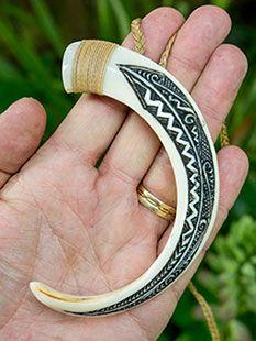 Engraved boars tusk necklace boneart nz bone scrimshaw