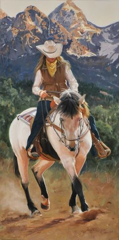 """""""Along the Teton Trail"""" - Original Oil painting of cowgirl riding a white horse with the Grand Teton mountains in the background. 17.5""""x29.5"""" (framed). #cowgirl"""
