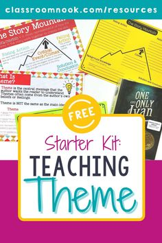 Grab a FREE Teaching Theme Starter Kit today! Teaching students to identify theme in literature is an often hard concept for students to master at the elementary level. The resources provided in this starter kit take a different approach to theme by helping students take an abstract concept and turn it into something that students can tackle and master. You'll get a story mountain mini-poster, theme vs. main idea mini- poster, and graphic organizers in this free resource! Get yours today! New Vocabulary Words, Vocabulary Practice, Reading Comprehension Strategies, Reading Resources, Teaching Themes, Student Teaching, Elementary Education, Upper Elementary, Story Mountain