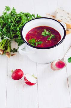 Red mountain spinach (orache) soup (vegan, GF)
