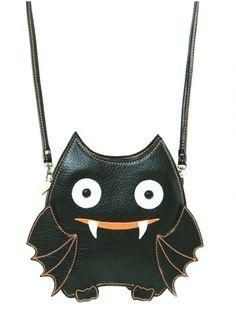 Cute Haloween Vinyl Bat Imaged Cross Body Bag Black