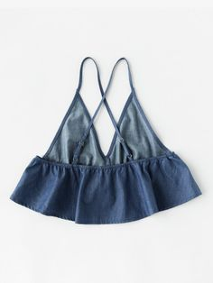 To find out about the Crisscross Back Flounce Chambray Cami Top at SHEIN, part of our latest Tank Tops & Camis ready to shop online today! Diy Fashion, Ideias Fashion, Fashion Clothes, Fashion Women, Fashion Outfits, Fashion Top, Sewing Clothes, Diy Clothes, Do It Yourself Fashion