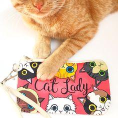 Cat lady custom wristlet