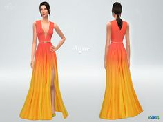 High-slit silk ombre gown in coral reef and lemon.  Found in TSR Category 'Sims 4 Female Everyday'