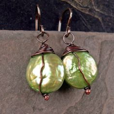 Earrings - wire wrapped lime green coin pearls, copper, silver. $18.00, via Etsy.