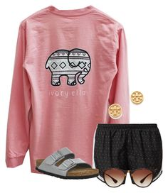"""""""Does anyone know where I can find an Ivory Ella shirt?"""" by flroasburn on Polyvore featuring NIKE, Birkenstock, Ray-Ban and Tory Burch"""