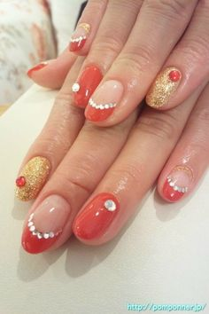 Red and gold nail sexy