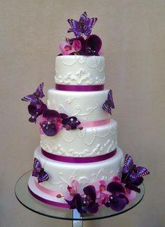 Purple butterfly wedding cake.