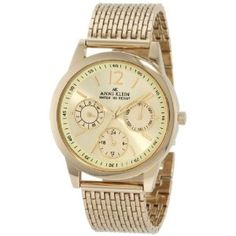 Anne Klein Women's 10/9734CHGB Gold-Tone Subdial Mesh Bracelet Watch (Watch) | click image for more information or to buy it