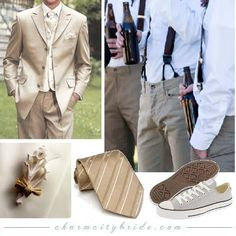 I like the button suspenders. Also, leaning towards white chuck taylors for groomsmen sneakers.