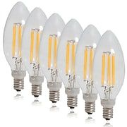 Maxxima Dimmable Clear Filament Candelabra LED Light Bulb Warm White 550 Lumens 6 Pack   Staples