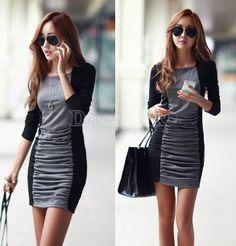 OL Winter Thicken Black/Gray Spliced Long Sleeve Package Hip Pleated Dress