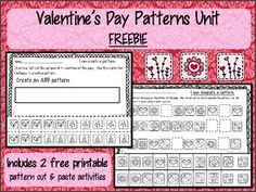 Free Valentine's Day Patterns Actvities for PK-1