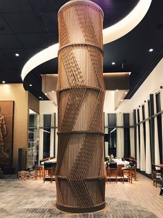 Rope Trees by Windy Chien seen at Fogo de Chao Brazilian Steakhouse, Tysons Wall Design, Home Design, Interior Design, Interior Columns, Interior Architecture, Brazilian Steakhouse, Pillar Design, Column Design, Hotel Lobby