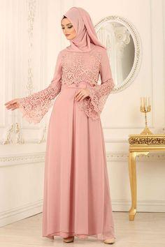 NEVA STYLE - POWDER PINK HIJAB EVENING DRESS 25670PD Hijab Evening Dress, Pink Evening Dress, Hijab Dress, Evening Dresses, Hijab Wedding Dresses, Bridesmaid Dresses, Hijab Fashion, Fashion Outfits, Dress Brokat