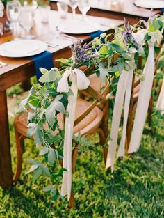 Lavender and greenery garland: http://www.stylemepretty.com/virginia-weddings/scottsville/2015/07/29/rustic-elegant-fat-cat-farm-wedding/ | Photography: Katie Stoops - http://katiestoops.com/
