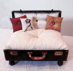 Love this dog bed made from a suitcase!!