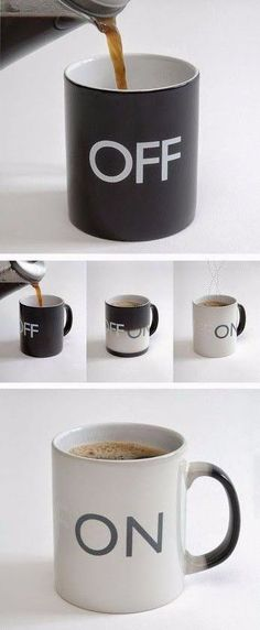 A color switched mug that changes from Off to On when hot water fill it out.