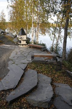 Viinijärven Kivi Oy:n louhoksen myyntiesittelyalueen rantaa. Finland, Slate, Sidewalk, Cottage, Landscape, Outdoors, Display, Projects, Patio