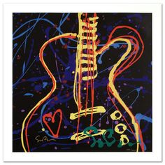 Another great find on #zulily! Neon Guitar Giclée Canvas by Simon Bull #zulilyfinds