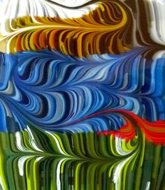 New combing work, experimental and fun and unpredictable. www.FusedArtGlassByKimBrill.com