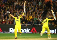 Shane Watson and Steve Smith of Australia celebrates victory during the 2015 ICC Cricket World Cup final match at Melbourne Cricket Ground on March 29, 2015 in Melbourne, Australia. New Zealand were all out at 183 in 45 overs and Australia made 186 for 3 wickets in 33.1 overs.