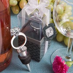 "Here's a proposal – why not choose these larger-than-life diamond ring wine bottle stoppers as your #engagementparty or wedding favors? You won't need to get down on one knee to present these fabulous favors to your guests. But, your family and friends are sure to say ""I do"" love these brimming-with-bling engagement ring wine bottle stoppers – conceived and elegantly packaged  Party Favors,Event Party Favors, Event Giveaway, Branded Promo"