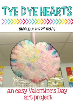 Are you looking for a fun art project to do with your class for Valentine's Day? These tye dye hearts are perfect, easy, and fun for the kids. They'll love making this fun craft.